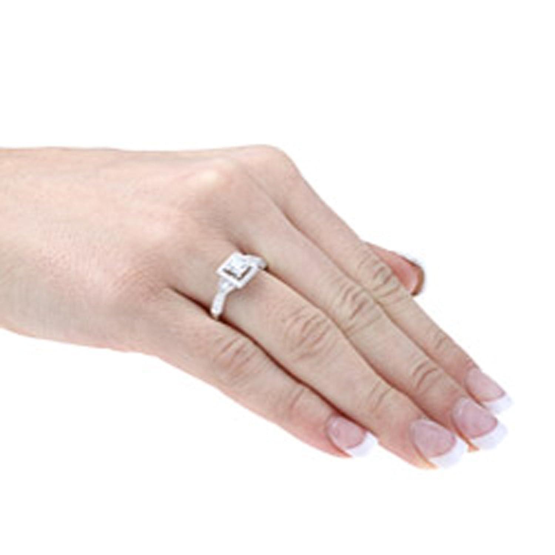Amazon.com: Victoria Kay 4/5ct White Diamond Square Halo Ring in 14k ...