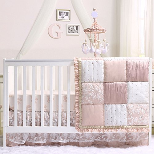 Grace 5 Piece Baby Girl Dusty Pink Crib Bedding Set by The Peanut Shell (Pink 5 Hearts Piece)