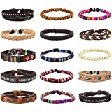 EasySo 15Pcs Mens Womens Braided Leather Bracelets Linen Hemp Cords Ethnic Tribal Bracelets Wood Beads Wristbands