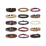 15Pcs Braided Leather Bracelets for Men Women Linen Hemp Cords Ethnic Tribal Bracelets Wood Beads...