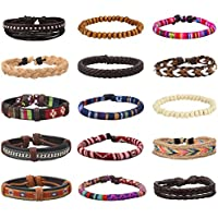 EasySo 15Pcs Braided Leather Bracelets for Men Women Linen Hemp Cords Ethnic Tribal Bracelets Wood Beads Wristbands