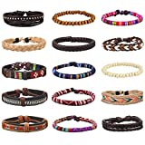 EasySo 15Pcs Mens Womens Braided Leather Bracelets Linen Hemp Cords Ethnic Tribal Bracelets Wood Beads Wristbands