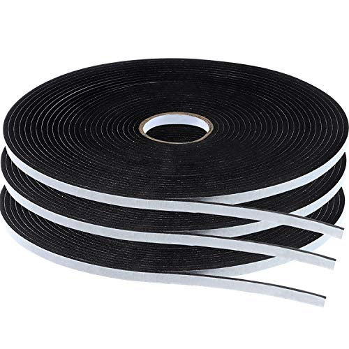 Tatuo Double Sided Foam Mounting Tape Foam Adhesive Tape Foam Seal Tape, 1/8 Inch Thick Foam Seal Strip, 3 Rolls (1/4 Inch Wide by 32.8 Feet Long Each Roll)