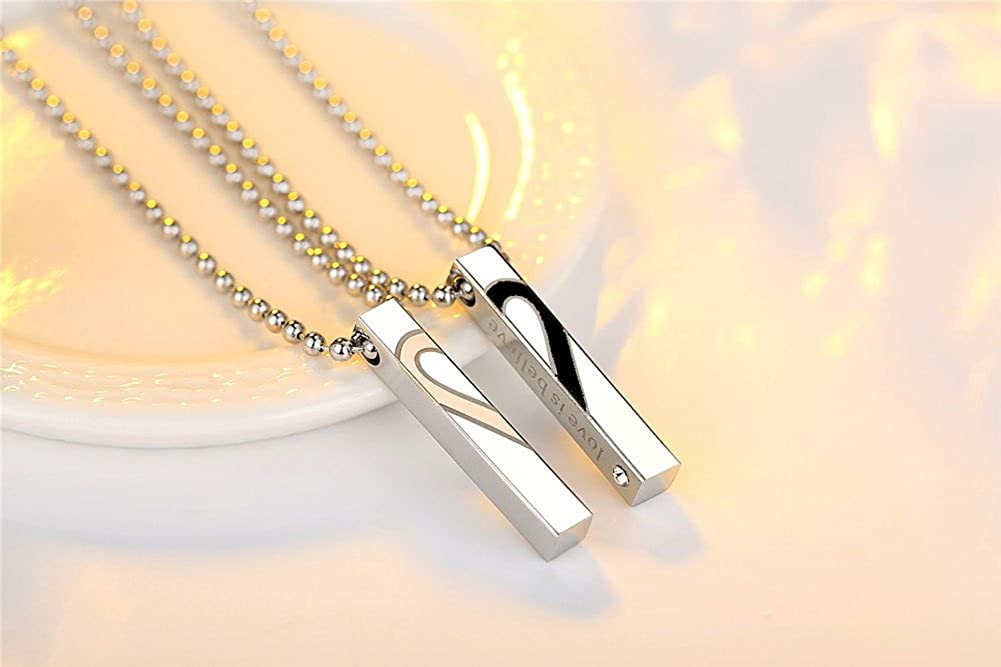 Uloveido Titanium Square Vertical Bar Pendant Chain Mathing Initial Necklace for Couples Engraved Love is Believe Birthday Gift Ideas for Him and Her KS797