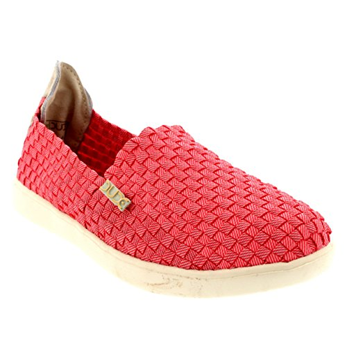 Simple Casual On Coral Dude Slip Shoe Last Hey Flat Womens E Canvas Lightweight YRqwIBxT