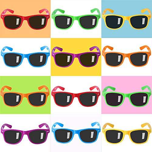 Party Sunglasses for Kids with UV400 Protection Eyewear Neon Sunglasses For Boys ,Girls - Great Gift for Party Favors, Birthday Party and Outdoor Activity( 12 Pack ()