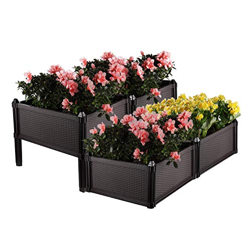 T4U Plastic Raised Garden Bed Brown Set of 4, Assemble Elevated Planter Box Container Indoor Outdoor Use for Orchid Herb Aloe Succulent Cactus Patio Backyard Porch Home Garden Decoration Gift