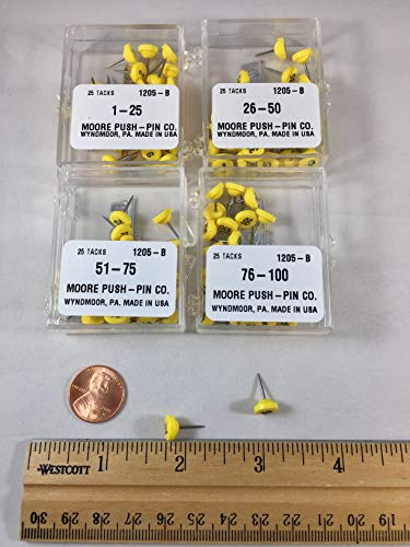 Yellow Numbered Map Pins 1-100