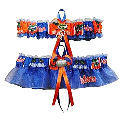 "ITS17 University U of Florida ""Gators"" Logo Wedding Garter Blue"