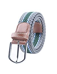 Honghong Fashion Striped Braided Woven Elastic Stretch Buckle Belt for Men c