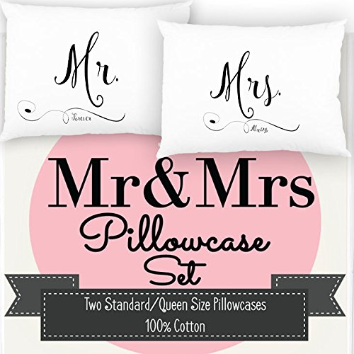 (Mr and Mrs Pillowcase Set, Mr and Mrs Pillows, Perfect & Unique Wedding Gift or Anniversary Gift - 100% Cotton 300 TC - by Ocean Drop)