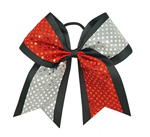 """Price comparison product image New """"CONFETTI DOTS Red & Silver"""" Cheer Bow Pony Tail 3"""" Ribbon Girls Hair Cheerleading Dance Practice Football Games Competition Birthday"""
