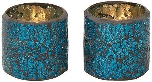 Deco 79 24091 Classy Glass Mosaic Votive, Set of 3, 3