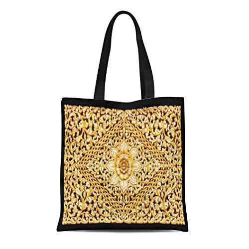 (Semtomn Canvas Tote Bag Shoulder Bags White Chinese Pattern of Wood Carve Gold Paint Black Women's Handle Shoulder Tote Shopper Handbag)
