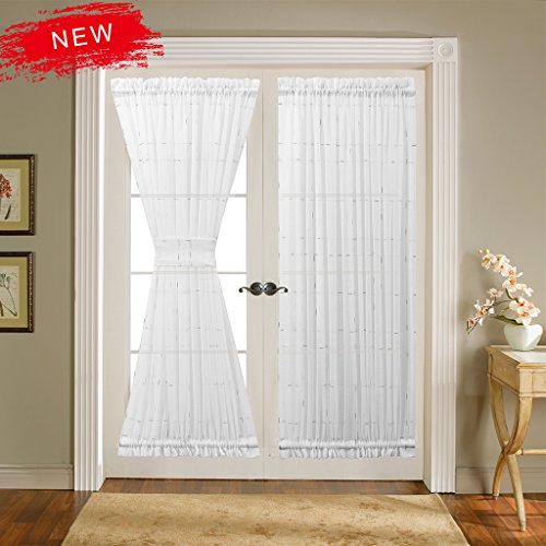 Design French Linen (Zceconce Rod Pocket Semi Sheer Linen Window Decor for French Door Silvery Thread Checkered Design on White Voile Curtains Durable Drapes Home Décor (52