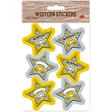 Beistle Sheriff Badge Stickers, 4 3/4 by 7 1/2-Inch, Gold/Silver/White
