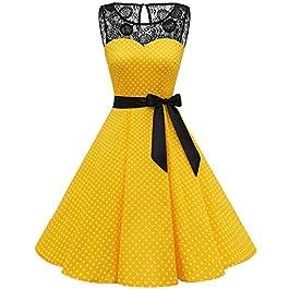 bbonlinedress Retro Vintage Dresses for Women 1950 Elegant Floral Rockabilly Cocktail Swing Party