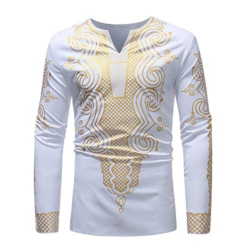iZHH Mens Luxury African Print Autumn Winter Long Sleeve Dashiki Shirt Blouse(A-White,L)