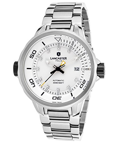 Lancaster Mens Steel (Lancaster Italy Ola1086mb-Ss-Bn Men's Space Shuttle Automatic Stainless Steel White Dial Ss)