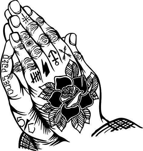 (HZ Graphics Praying Hands Tattooed Vinyl Decal Wall Laptop Bumper Sticker 5