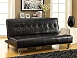 Furniture of America Botany Leatherette Convertible Sofa, Black