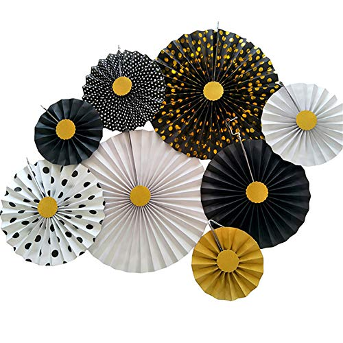 - Set of 8 Black White Gold Dot Solid Hanging Paper Fan Pinwheel Rosettes Decorative Kit for Birthday Wedding Baby Shower Centerpieces Christmas New Year Party Decoration