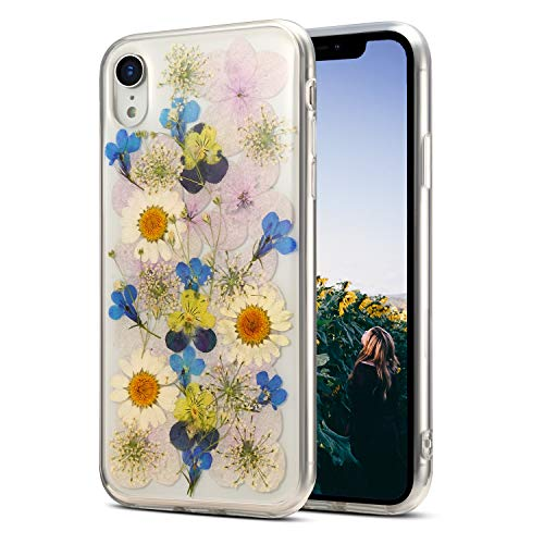 iPhone XR Case Floral,Real Flower iPhone XR Clear Case Design for Girls [Support Wireless Charging] Soft Silicone TPU Phone Protective Cover for iPhone XR 6.1'',Sunflower Blue