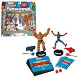 marvel battle dice - ToyBiz Year 2005 Marvel Legends Showdown Series 2 Pack 4 Inch Tall Action Figure Starter Set : SPIDER-MAN vs. THING with 2 Bases, 6 Power Cards, 12 Battle Tiles, 2 Projectile Launchers with 2 Projectiles, 2 Dices and Rulebook by Marvel