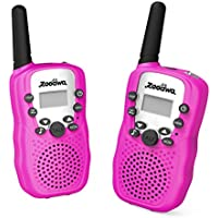 [Upgrade Generation] Handheld Walkie Talkie, Zooawa [2 Pcs] Kids Outdoor Wireless Interphone 2-Way 3.75 KM Range Durable Radio Transceiver Toy with 22 Channels for Camping and Hiking - Magenta