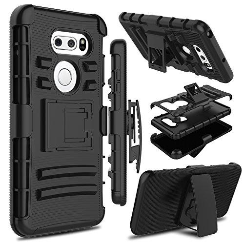 LG V35 ThinQ Case, LG V30 Case, LG V30s ThinQ Case, Zenic Heavy Duty Shockproof Full-Body Protective Hybrid Case Cover Swivel Belt Clip Kickstand LG V35/LG V30 Plus (Black)