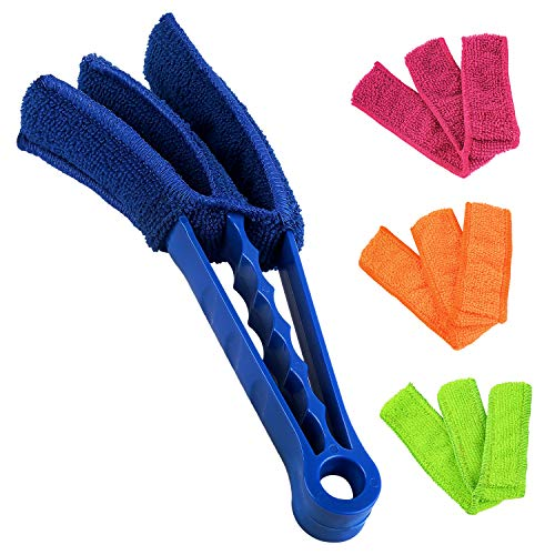 ELECOOL Window Blind Brush Dust Cleaner with 4 Sleeves for Air Conditioner Window Shades Blinds Jalousie Shutter (8 Long Arm)