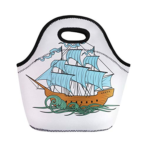 Semtomn Neoprene Lunch Tote Bag Sail Sailing Ship Boat Cutty Sark Old Pirate Water Reusable Cooler Bags Insulated Thermal Picnic Handbag for Travel,School,Outdoors, Work