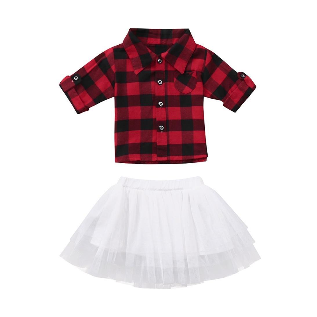 BYSTE Abito Bambina Ragazze Abiti Maniche lunghe Plaid camicia Top T-shirt + Gonna di garza Bowknot tutu Vestito da principessa Impostato