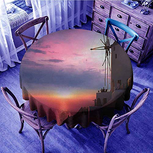 - Windmill Decor Picnic Cloth Beautiful Oia Village Santorini Island Greece Colorful Sky Idyllic Aegean Garden Round Tablecloth Multicolor Diameter 54