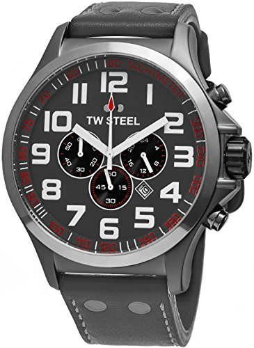 TW Steel Pilot Watch - Stainless Steel Plated Titanium Watch - Grey Dial Date 24-hour TW Steel Watch Mens - Grey Leather Band 45mm Chronograph Watch TW422