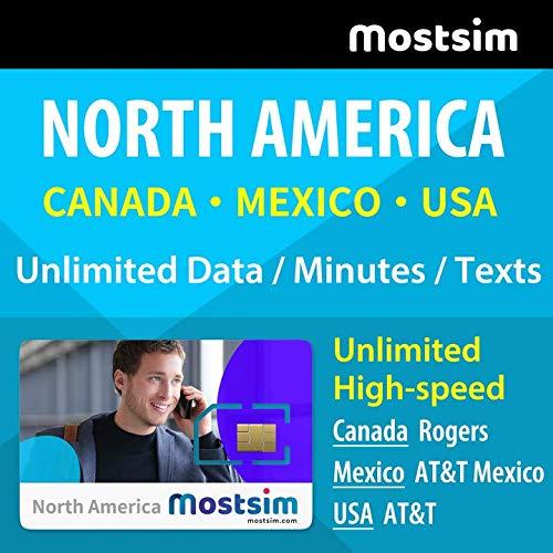 MOSTSIM Tarjeta SIM AT&T para USA, Canadá y México, Datos a Alta Velocidad/Llamadas/Mensajes de Texto Ilimitados - 28 Días