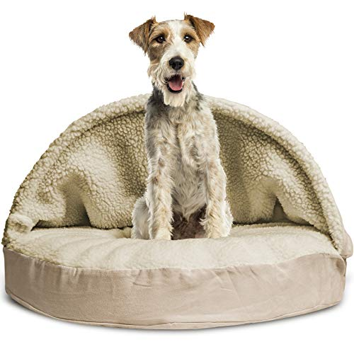 Furhaven Pet Dog Bed | Memory Foam Round Cuddle Nest Faux Sheepskin Snuggery Blanket Burrow Pet Bed w/ Removable Cover for Dogs & Cats, Cream, - Inch 35 Cream