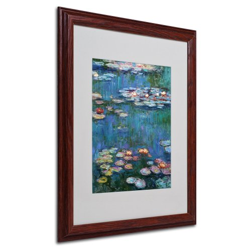 - Trademark Fine Art Waterlilies Classic by Claude Monet, White Matte, Wood Frame 16x20-Inch