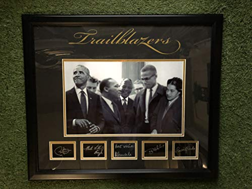 "Civil Rights Activists Martin Luther King Jr, Nelson Mandela, Malcolm X, Rosa Parks And Former President Barak Obama Custom Framed Photo with Laser Etched Signatures""Trailblazers"""