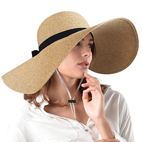 FURTALK Women Brim Sun Hat Summer Beach Cap UPF50 UV Packable Straw Hat for Travel (Medium Size (22.1''-22.6''), 5.3'' Brim Adult-New Mix Beige)