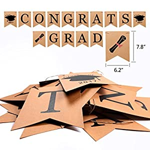 2 IN 1 Congrats & Grad Graduation Party Supplies Banner, Konsait Graduation Party Decoration Graduation Party Idea-Banner Bunting Garland Grad Banner Congratulations Sign for Graduation Party Decor from Konsait