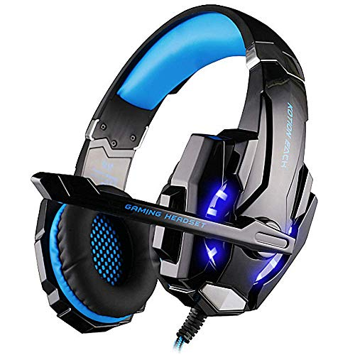 (BIBOX G9000 Stereo Gaming Headset, Bass Surround Sound Over Ear Headphones 3.5mm Jack with Noise Cancelling Mic and LED Light for PC/PS4/Xbox One/Laptop with 1 to 2 Adapter Cable - Blue)