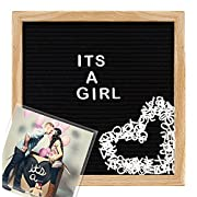 Felt Letter Board With Attachable Photo Frame and Back Stand | Premium 10x10 Oak Wood Frame Letter Board With 290 Changeable Letters and Felt Letter Bag.