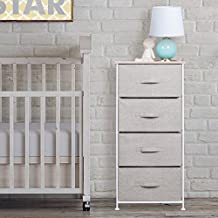 mDesign Fabric Baby 4-Drawer Dresser and Storage Organizer Unit for Nursery, Bedroom, Play Room - Linen