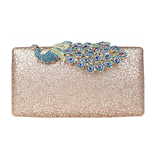 Pink Champagne Purse Wedding Shining Purse Evening Crystal KAXIDY Clutch Buckle Bags Ladies Luxury Clutch Peacock wxOyC64qf