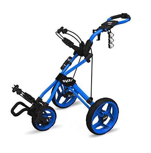Rovic Model RV3J Junior | Youth 3-Wheel Golf Push Cart (Blue)
