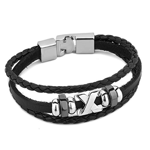 Heart of Charms Letter X Symbol Mens Bracelets Black Handmade Braided Leather Bracelets(Style-2) Heart Black Letters Charm