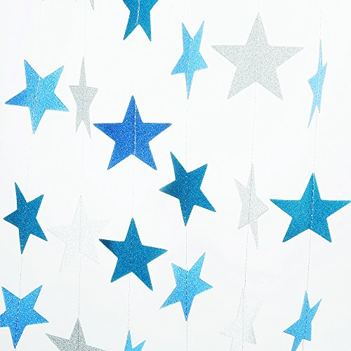 2 Pack Sparkling Star Paper Garland Bunting Banner Hanging Dcor for Christmas Wedding Birthday Party Baby ShowerBlue+Silver12ft ,35pcs)