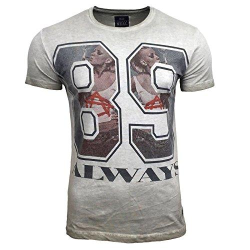 T-Shirt Kurzarm Herren Rundhals Stone Washed Optik Batik Shirt RN-16731 AVRONI, Größe:L, Farbe:Beige