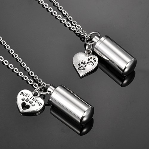 HooAMI Pet Paw Heart Charm & Cylinder Memorial Urn Necklace Stainless Steel Cremation Jewelry